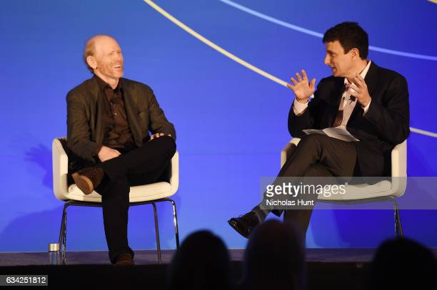 Ron Howard and editor of the New Yorker David Remnick participate in a discussion onstage during the American Magazine Media Conference 2017 on...