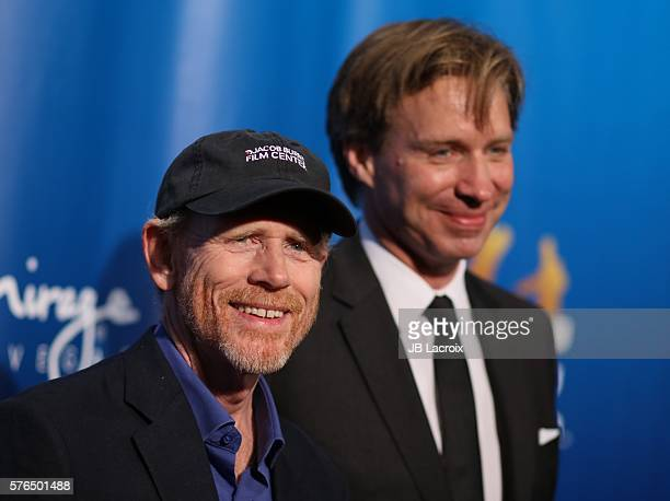 Ron Howard and Giles Martin attend the 10th anniversary celebration of 'The Beatles LOVE by Cirque du Soleil' at The Mirage Hotel Casino on July 14...