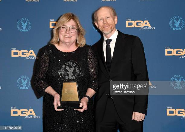 Ron Howard and Kathleen McGill pose in the pressroom with the Frank Capra Achievement Award during the 71st Annual Directors Guild Of America Awards...