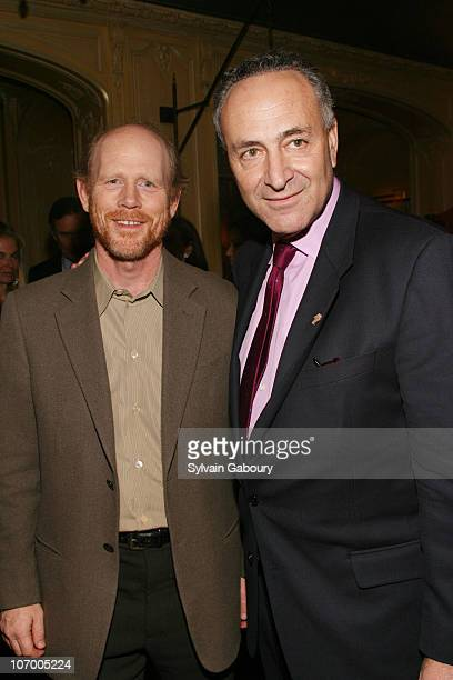 Ron Howard and Senator Schumer during Harvey Weinstein Hosts a Private Dinner and Screening of Bobby for Senators Obama and Schumer at Plaza Athenee...