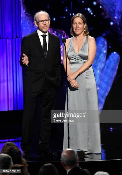 Ron Howard and Susan Wojcicki onstage at the 2019 Breakthrough Prize at NASA Ames Research Center on November 4 2018 in Mountain View California