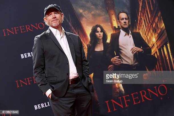 Ron Howard attends the German premiere of the film 'INFERNO' at Sony Centre on October 10 2016 in Berlin Germany