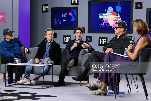 """Ron Howard, Brian Grazer, Daniel Roher, Robbie Robertson, and Denise Donlon attend the """"Once Were Brothers: Robbie Robertson and the Band"""" press..."""