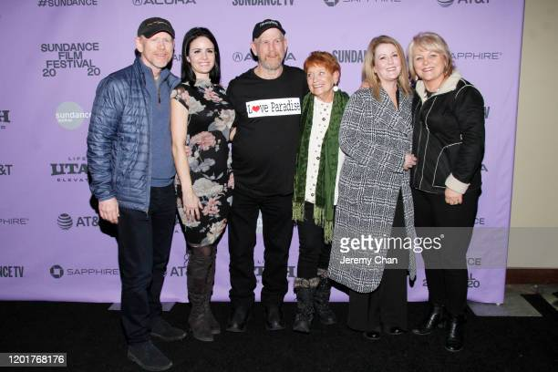 Ron Howard Carly Jean Ingersoll Steve Woody Culleton Michelle John attend the Rebuilding Paradise premiere during the 2020 Sundance Film Festival at...