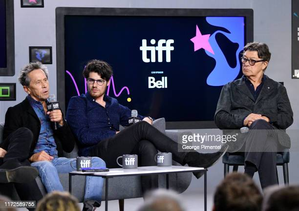 """Ron Howard, Daniel Roher and Robbie Robertson attend the """"Once Were Brothers: Robbie Robertson and the Band"""" press conference during the 2019 Toronto..."""