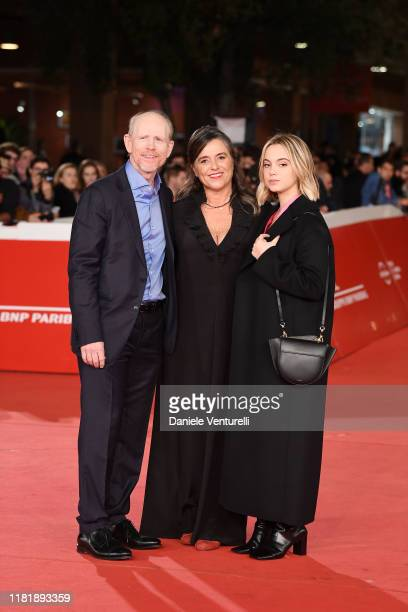 Ron Howard Giuliana Pavarotti and Caterina Lo Sasso attend the Pavarotti red carpet during the 14th Rome Film Festival on October 18 2019 in Rome...