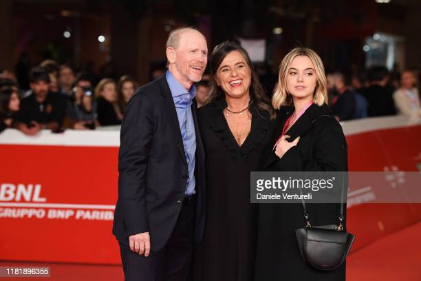 "Ron Howard, Giuliana Pavarotti and Caterina Lo Sasso attend the ""Pavarotti"" red carpet during the 14th Rome Film Festival on October 18, 2019 in..."