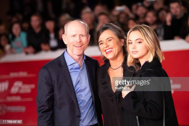 Ron Howard, Giuliana Pavarotti, Caterina Lo Sasso attend the 'Pavarotti' red carpet during the 14th Rome Film Festival on October 18, 2019 in Rome,...