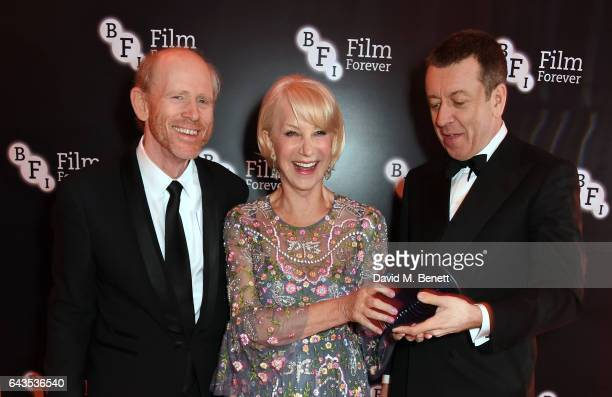 Ron Howard Helen Mirren and Peter Morgan attend the annual BFI Chairman's Dinner honouring Peter Morgan with the BFI Fellowship at Claridge's Hotel...