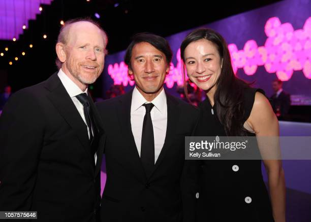 Ron Howard Jimmy Chin and Elizabeth Chai Vasarhelyi attend the 2019 Breakthrough Prize at NASA Ames Research Center on November 4 2018 in Mountain...