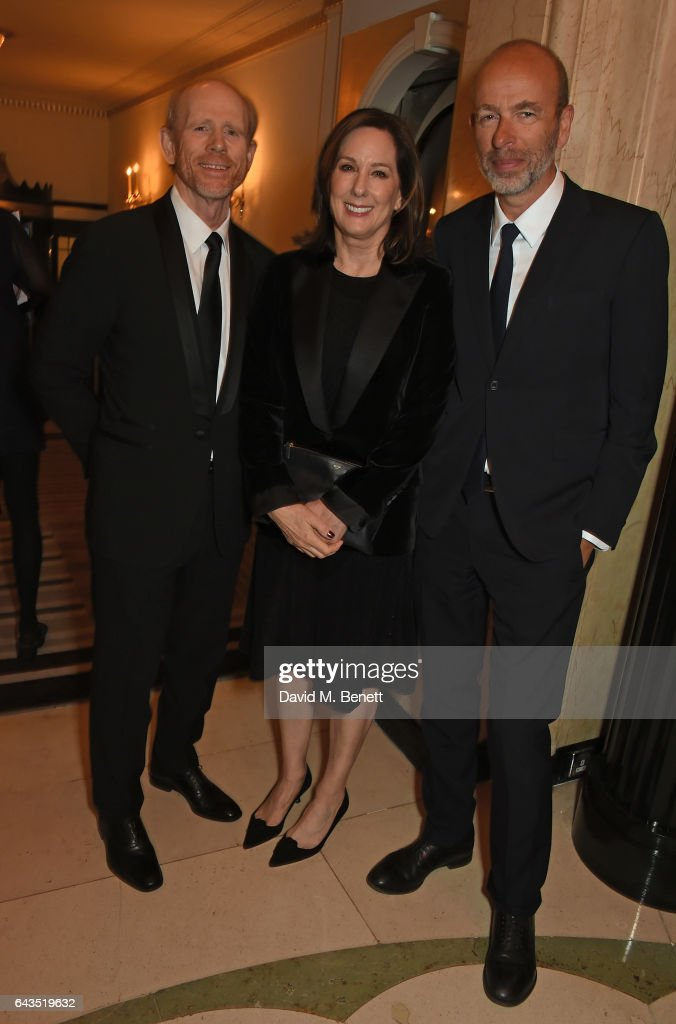 Ron Howard, Kathleen Kennedy and Eric Fellner attend the annual BFI Chairman's Dinner honouring Peter Morgan with the BFI Fellowship at Claridge's Hotel on February 21, 2017 in London, England.