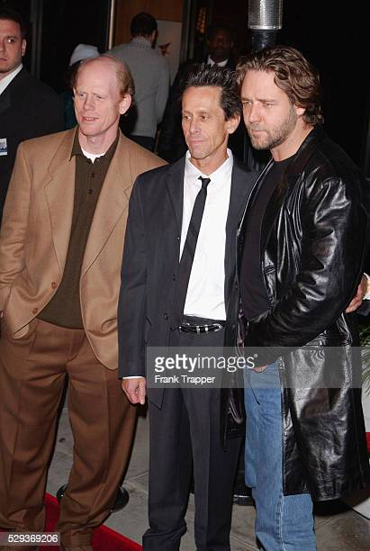 Ron Howard producer Brian Grazer and Russell Crowe at the premiere of A Beautiful Mind