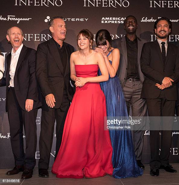 Ron Howard Tom Hanks Felicity Jones Ana Ularu Omar Sy and Irrfhan Khan attend the INFERNO World Premiere Red Carpet at the Opera di Firenze on...