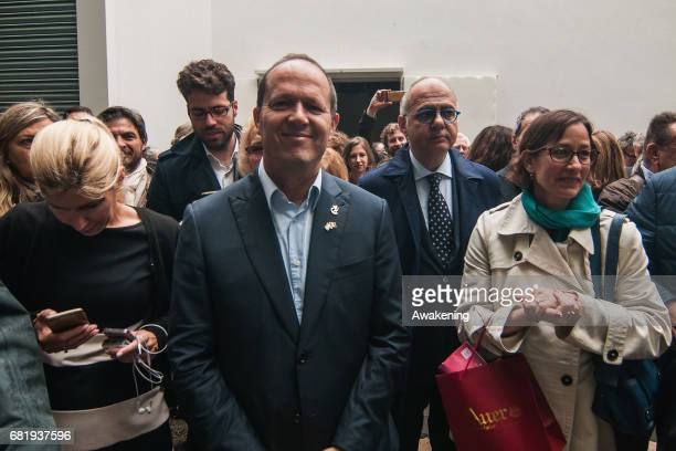 Ron Huldai, mayor of the city of Tel Aviv, attends at the opening of the Israel pavilion, presenting the project 'Sun Stand Still' of Gal Weinstein...
