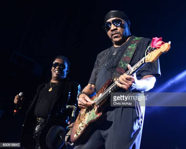 Ron Isley and Ernie Isley of The Isley Brothers perform during the KISS 1041 Flashback Festival at Lakewood Amphitheatre on August 12 2017 in Atlanta...