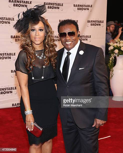 Ron Isley and Kandy Johnson Isley attend 2015 Barnstable Brown Kentucky Derby Eve Gala at Barnstable Brown House on May 1 2015 in Louisville Kentucky
