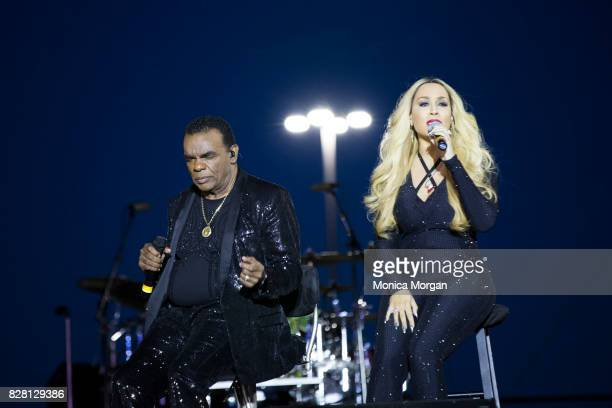 Ron Isley and wife Kandy Johnson Isley perform during Detroit River Days​ 2017 at the Detroit Riverfront on June 23 2017 in Detroit Michigan