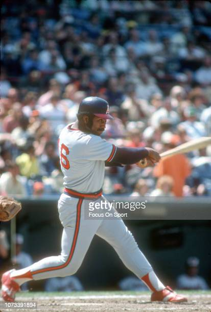 Ron Jackson of the California Angels bats against the Baltimore Orioles during an Major League Baseball game circa 1976 at Memorial Stadium in...