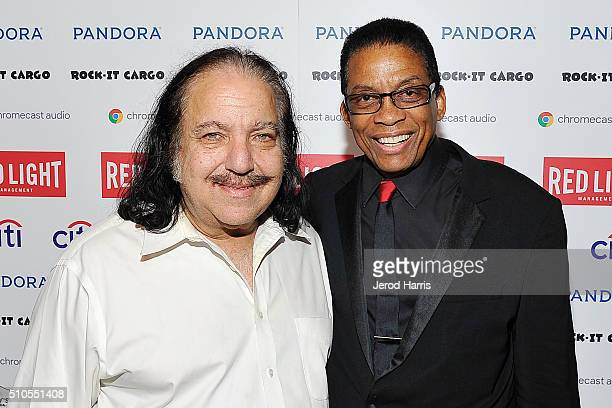 Ron Jeremy and Herbie Hancock attend the Red Light Management Grammy after party presented by Citi at the Mondrian Hotel on February 15 2016 in Los...
