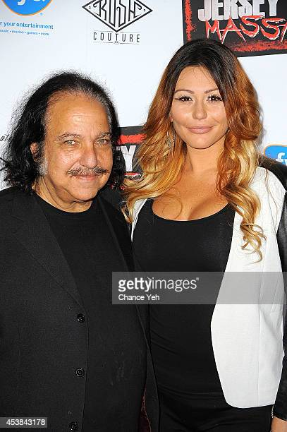 Ron Jeremy and Jenni 'JWoww' Farley attend the 'Jersey Shore Massacre' New York Premiere at AMC Lincoln Square Theater on August 19 2014 in New York...