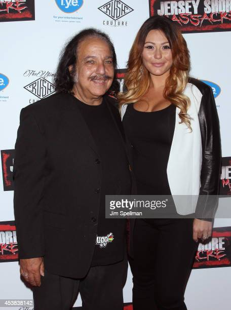 Ron Jeremy and tv personality Jenni 'JWoww' Farley attend the 'Jersey Shore Massacre' New York Premiere at AMC Lincoln Square Theater on August 19...