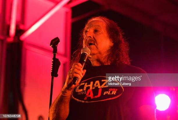 Ron Jeremy talks to the crowd at Backyard Bash 2018 at the Rainbow Bar Grill at El Rey Theatre on September 2 2018 in Los Angeles California