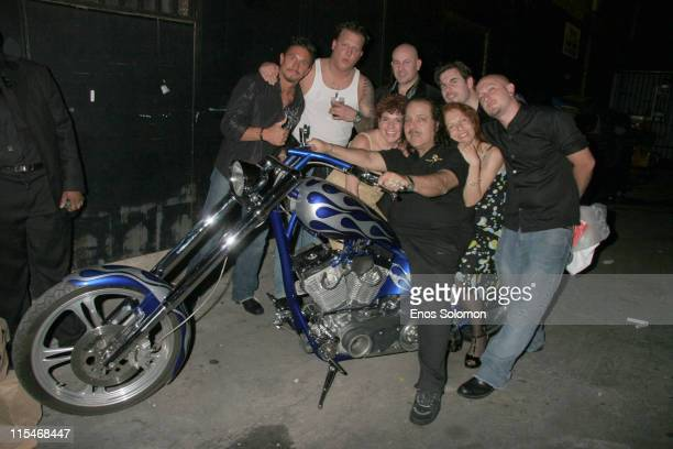 Ron Jeremy with family and friends and his birthday present a custom bike by HarleyDavidson