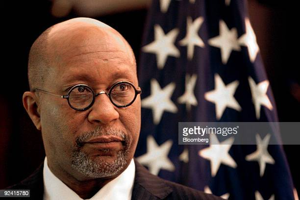 Ron Kirk US trade representative speaks at a news conference following a signing ceremony between Harsco Corp and Zhejiang Construction and...