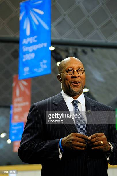 Ron Kirk US trade representative speaks on the sidelines of the AsiaPacific Economic Cooperation summit in Singapore on Thursday Nov 12 2009 The APEC...