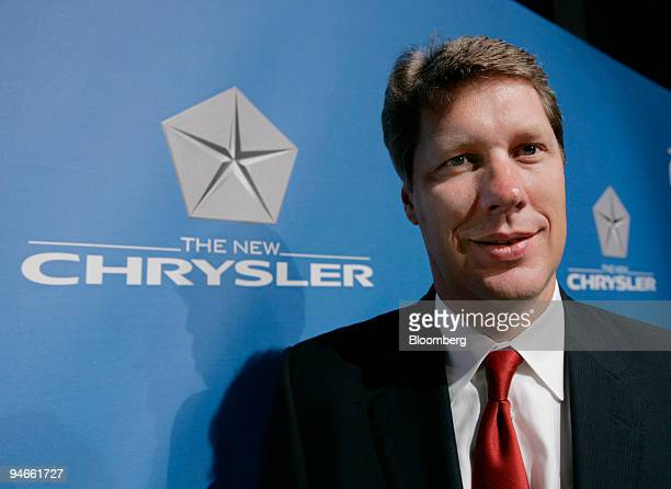 """Ron Kolka, Chrysler Group chief financial officer, poses at the """"First Day"""" of The New Chrysler at their headquarters in Auburn, Hills, Michigan on..."""