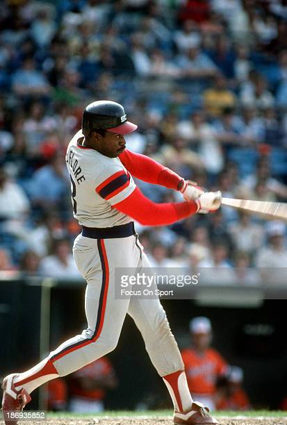 Ron LeFlore of the Chicago White Sox bats against the Baltimore Orioles during an Major League Baseball game circa 1982 at Memorial Stadium in...