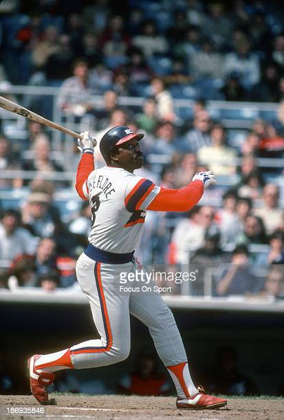 Ron LeFlore of the Chicago White Sox bats against the New York Yankees during an Major League Baseball game circa 1982 at Yankee Stadium in the Bronx...