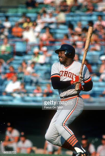 Ron LeFlore of the Detroit Tigers bats against the Baltimore Orioles during an Major League Baseball game circa 1977 at Memorial Stadium in Baltimore...