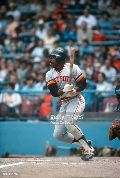 Ron LeFlore of the Detroit Tigers bats against the Cleveland Indians during an Major League Baseball game circa 1978 at Cleveland Municipal Stadium...