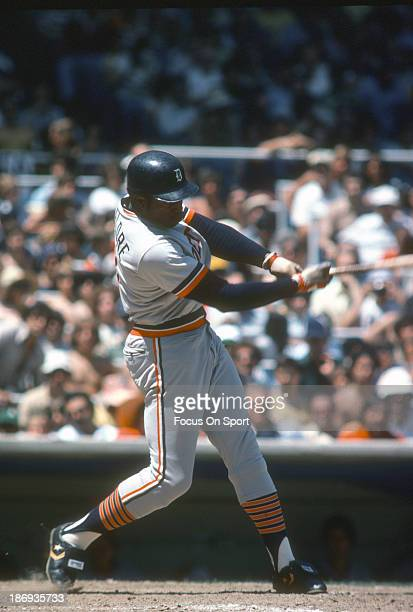 Ron LeFlore of the Detroit Tigers bats against the New York Yankees during an Major League Baseball game circa 1977 at Yankee Stadium in the Bronx...
