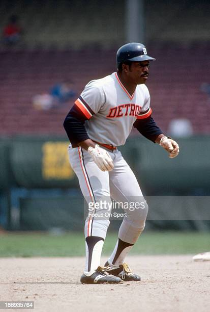 Ron LeFlore of the Detroit Tigers leads off of second base against the Cleveland Indians during an Major League Baseball game circa 1978 at Cleveland...