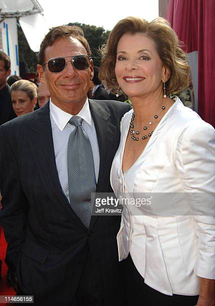 Ron Leibman and Jessica Walter during 57th Annual Primetime Emmy Awards Red Carpet at The Shrine in Los Angeles California United States