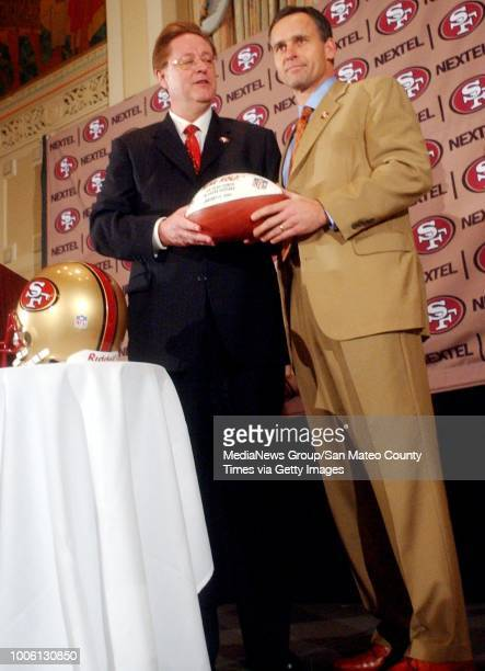 ron lewis/staff 11905 san mateo county times#13#10#13San Francisco 49ers owner John York introduces new Head Coach Mike Nolan to the media during a...