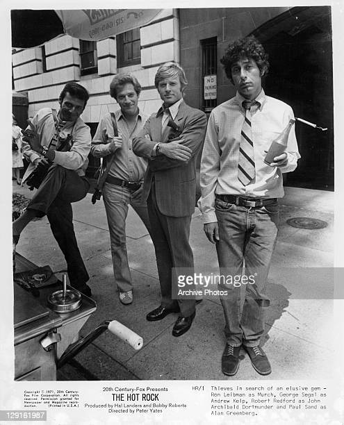 Ron Liebman, George Segal, Robert Redford, and Paul Sand are thieves in search of an elusive gem in a scene from the film 'The Hot Rock', 1972.
