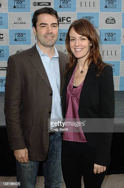 Ron Livingston and Rosemarie DeWitt attend the Film Independent 2010 Spirit Awards Nominee Brunch at the BOA Steakhouse on January 16 2010 in Los...