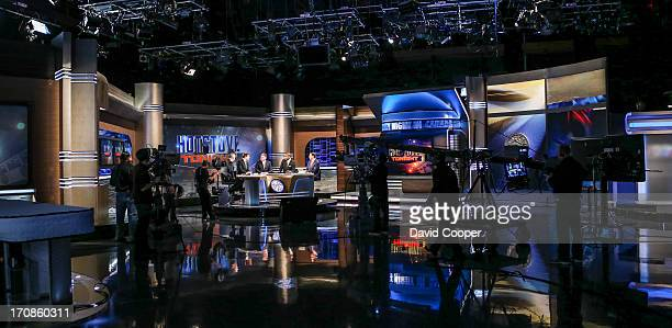 Ron MacLean PJ Stock Glenn Healy Kevin Weekes and Elliotte Friedman on set during the rehearsal as CBC gives us a behindthescenes look at their new...