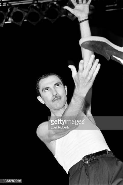 Ron Mael of Sparks performing at the Brendan Byrne Arena in East Rutherford, New Jersey on June 26, 1983.