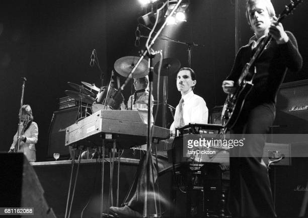 Ron Mael of Sparks performing on stage at Rainbow Theatre, London, 07 July 1974.