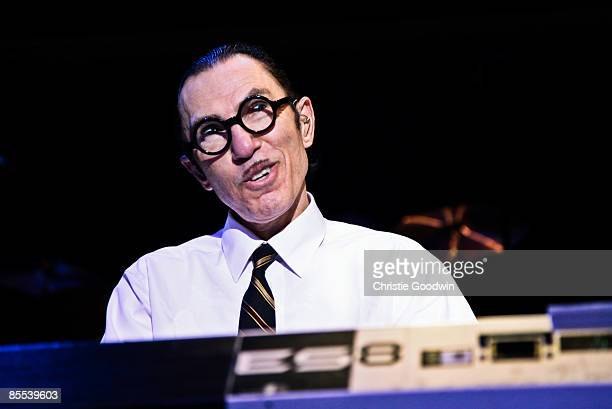Ron Mael of Sparks performs on stage at the Forum on March 20, 2009 in London, England.