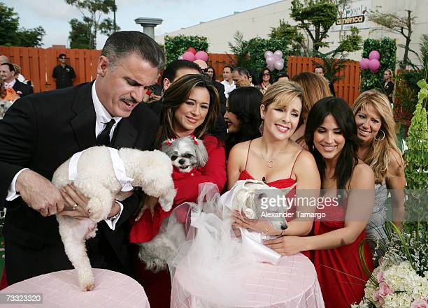 Ron McGill Neyda Sandoval Karla Martinez Ana Maria Canseco and Jackie Guerrido appear at the dog wedding of Cosita and Pucci on Univision's Despierta...