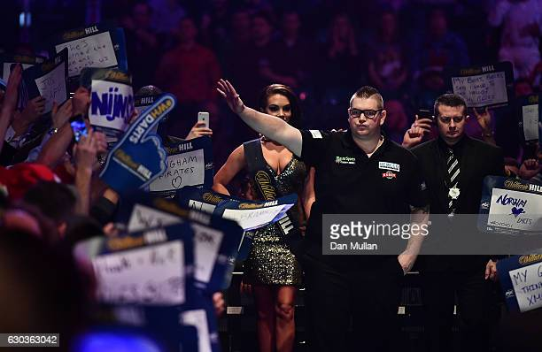 Ron Meulenkamp of the Netherlands prepares to take to the stage for his first round match against Mensur Suljovic of Serbia during day seven of the...