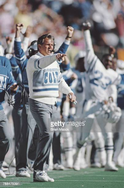 Ron Meyer head coach for the Indianapolis Colts calls the play during the American Football Conference Central game against the Cincinnati Bengals on...