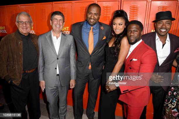 Ron Meyer Jeff Shell Malcolm D Lee Eniko Parrish Kevin Hart and Will Packer arrive at the premiere of Universal Pictures' Night School at the Regal...