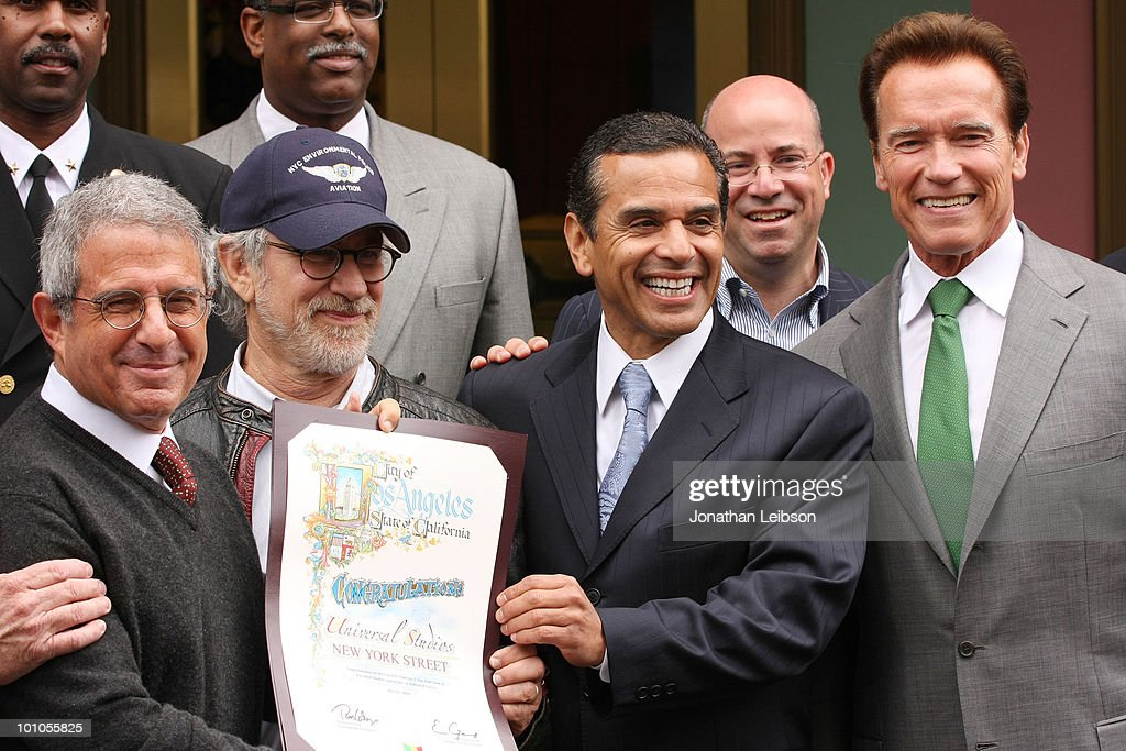 Ron Meyer, Steven Spielberg, Los Angeles Mayor Antonio Villaraigosa, Jeff Zucker and California Gov. Arnold Schwarzenegger attend the re-opening of the Universal Studios 'New York Street' back lot at Universal Studios Hollywood on May 27, 2010 in Universal City, California.