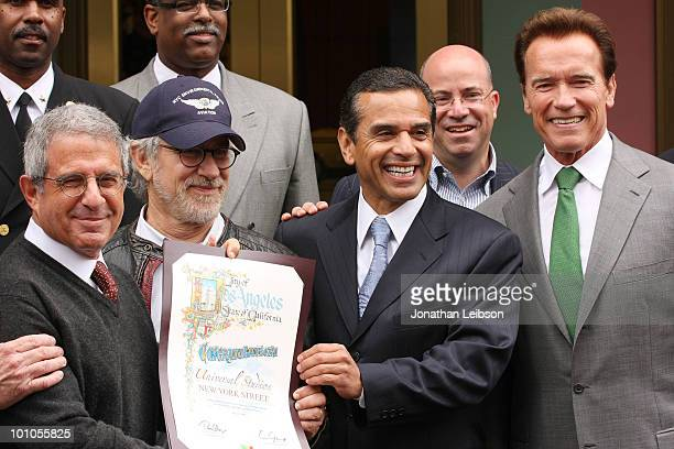 Ron Meyer Steven Spielberg Los Angeles Mayor Antonio Villaraigosa Jeff Zucker and California Gov Arnold Schwarzenegger attend the reopening of the...